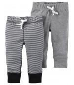 Carters штанишки для мальчика, Серый и в полоску, 2 шт, размеры с 3+ мес, 6+ мес, 9+ мес, 12+ мес (126G836)