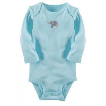 Carters бодик с длинными рукавами, голубой, 1 шт, размеры с 0 мес, 3+ мес, 6+ мес, 9+ мес (126876-1)