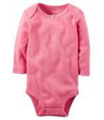 Carters бодик с длинными рукавами, розовый, 1 шт, размеры с 0 мес, 3+ мес, 6+ мес, 9+ мес (1268733)