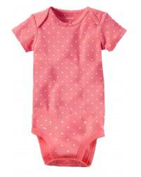 Carters бодик с короткими рукавами, розовый в горошек, 1 шт,  размеры с 0 мес, 3+ мес, 6+ мес, 9+ мес (1268261)