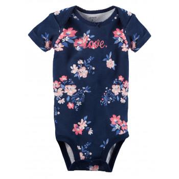 Carters бодик с короткими рукавами, темно синий с цветами, 1шт,  размер с 0 мес (1268264)