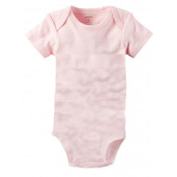 Carters бодик с короткими рукавами, светло-розовый в полоску, 1 шт,  размеры с 0 мес, 3+ мес, 6+ мес, 9+ мес (1268265)