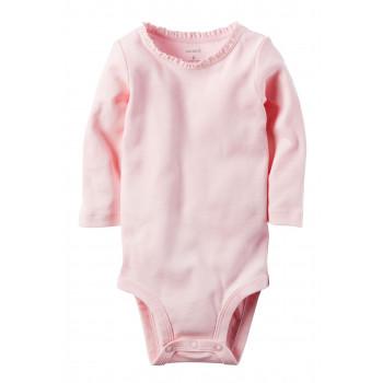 Carters бодик с длинными рукавами, светло-розовый, 1 шт,  размеры с 0 мес, 3+ мес, 6+ мес, 9+ мес (126872-3)