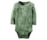 Carters бодик с длинными рукавами, темно-зеленый с динозаврами, 1 шт,  размеры с 0 мес, 3+ мес, 6+ мес, 9+ мес (126874-1)
