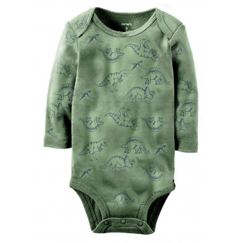 Carters бодик с длинными рукавами, темно-зеленый с динозаврами, 1 шт,  размеры с 0 мес (126874-1)
