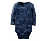 Carters бодик с длинными рукавами, темно-синий со слонятами, 1 шт,  размеры с 0 мес, 3+ мес, 6+ мес, 9+ мес (126892-2)