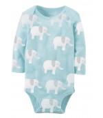 Carters бодик с длинными рукавами, голубой со слонятами, 1 шт,  размеры с 0 мес, 3+ мес, 6+ мес, 9+ мес (126892-4)