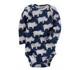 Carters бодик с длинными рукавами, темно-синий с носорогами, 1 шт,  размеры с 0 мес, 3+ мес, 6+ мес, 9+ мес (126892-6)