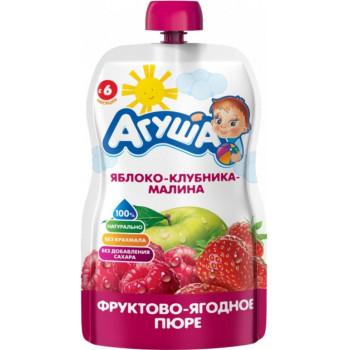Агуша пюре сашет, яблоко-клубника-малина, с 6 месяцев, 90гр (32400)