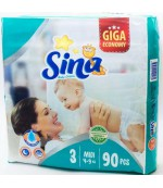 Sina Midi #3 подгузники giga, 4-9кг, 90шт (90460)