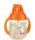 Nuby Flip-It поильник-непроливайка с трубочкой , с щеточкой, 12+ месяцев, 270мл, в ассортименте, 1шт (03249)