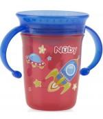 Nuby поильник-чашка с крышкой, 6+ месяцев, 240мл, в ассортименте, 1шт (04109)