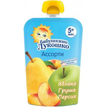 Бабушкино Лукошко пюре сашет, яблоко, груша и персик, с 5 месяцев, 90гр (09468)