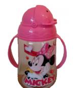 Disney поильник c ручками, с трубочкой, розовый, 12+ месяцев, 300мл, 1шт (15469)