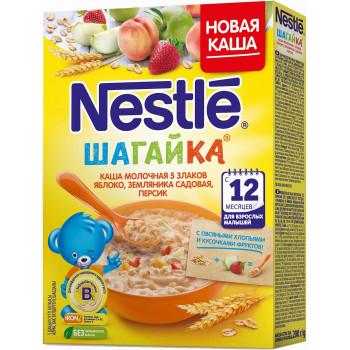 Nestle Шагайка каша 5 злаков, овсяные хлопья с яблоком, персиком и земляникой, с молоком, с 12 месяцев, 200гр (00072)