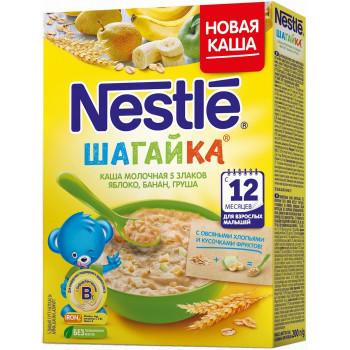 Nestle Шагайка каша 5 злаков, овсяные хлопья с яблоком, бананом и грушей, с молоком, с 12 месяцев, 200гр (00096)