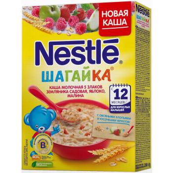 Nestle Шагайка каша 5 злаков, овсяные хлопья с земляникой, яблоком и малиной, с молоком, с 12 месяцев, 200гр (00010)