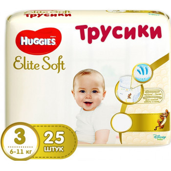 Huggies Elite Soft трусики-подгузники #3, 6-11кг, 25шт (46964)