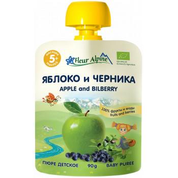 Fleur Alpine пюре сашет, яблоко и черника, с 5 месяцев, 90гр (01130)