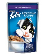 Felix Аппетитные Кусочки консервированный корм паучи для взрослых кошек, с ягненком в желе, 85гр (62868)