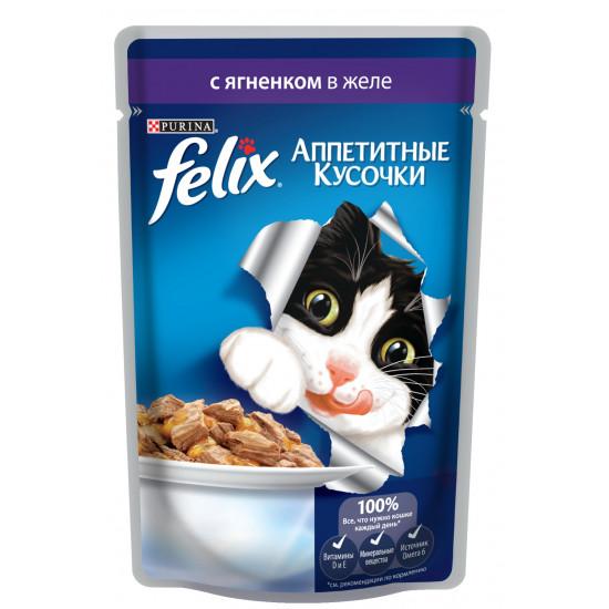 Felix корм пауч для взрослых кошек, ягненок в желе, 85гр (62868)