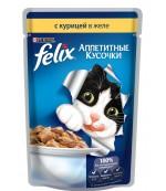 Felix Аппетитные Кусочки консервированный корм паучи для взрослых кошек, с курицей в желе, 85гр (20995)
