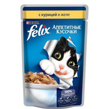 Felix корм пауч для взрослых кошек, курица в желе, 85гр (20995)