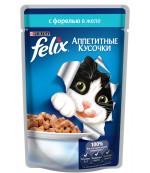 Felix Аппетитные Кусочки консервированный корм паучи для взрослых кошек, с форелью в желе, 85гр (63131)
