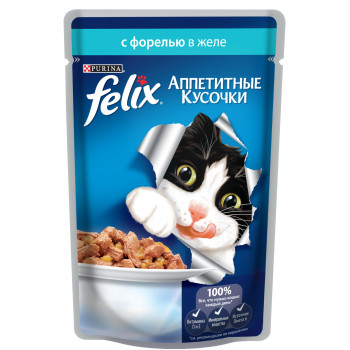 Felix корм пауч для взрослых кошек, форель в желе, 85гр (63131)