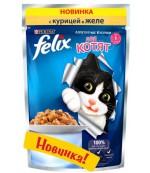 Felix консервированный корм паучи для котят, с курицей в желе, до 1 года, 85гр (10221)