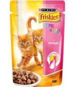 Friskies консервированный корм паучи для котят, с курицей в подливе, до 1 года, 100гр (27942)