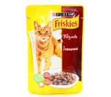 Friskies консервированный корм паучи для взрослых кошек, с говядиной в подливе, 100гр (26327)