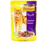 Friskies консервированный корм паучи для взрослых кошек, с говядиной и ягненком в подливе, 100гр (26754)