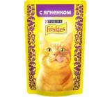 Friskies консервированный корм паучи для взрослых кошек, с ягненком в подливе, 85гр (69323)