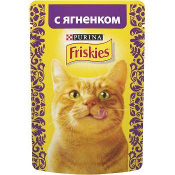 Friskies корм пауч для взрослых кошек, с ягненком, 85гр (69323)