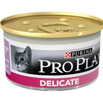 Pro Plan Delicate корм для взрослых кошек с чувствительным пищеварением, мусс с индейкой, 85гр (89927)