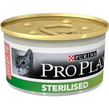 Pro Plan Sterilised корм для взрослых стерилизованных кошек и котов, паштет c тунцом и лососем, 85гр (68558)