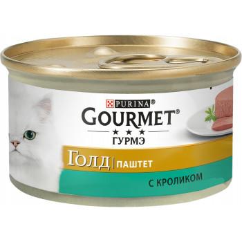 Gourmet Gold корм паштет для взрослых кошек, с кроликом, 85гр (28747)