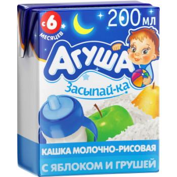 Агуша засыпай-ка молочно-рисовая готовая каша, с пребиотиками, с яблоком и грушей, с 6 месяцев, 200мл (29929)