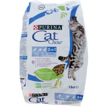 Cat Chow 3в1 сухой корм для взрослых кошек, с домашней птицей и индейкой, 1,5кг (52664)