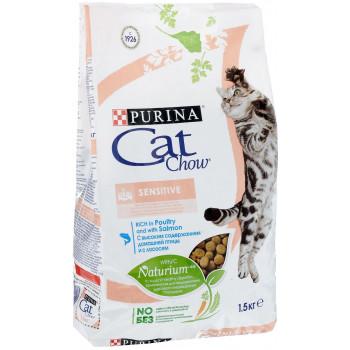Cat Chow Sensitive сухой корм для взрослых кошек с чувствительной кожей или пищеварением, с домашней птицей и лососью, 1,5кг (45445)