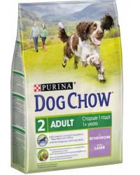 Dog Chow Adult сухой полнорационный корм для взрослых собак, с ягненком, старше 1 года, 2,5кг (93672)