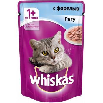 Whiskas корм пауч для взрослых кошек, рагу с форелью, 85гр (72071)