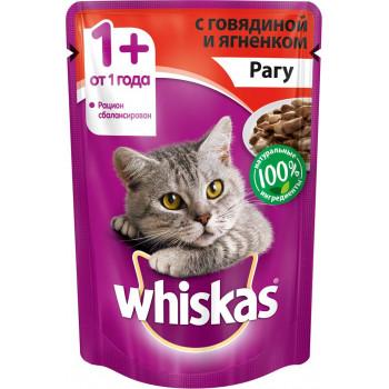 Whiskas корм пауч для взрослых кошек, рагу говядины с ягненком, 85гр (03999)