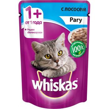 Whiskas корм пауч для взрослых кошек, рагу с лососем, 85гр (72057)