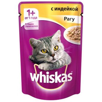 Whiskas консервированный корм для взрослых кошек, рагу с индейкой, 85гр (72132)