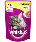 Whiskas консервированный корм для взрослых кошек, рагу с курицей, 85гр (04019)