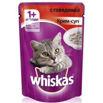 Whiskas консервированный корм для взрослых кошек, крем-суп с говядиной, 85гр (75805)