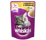 Whiskas консервированный корм для взрослых кошек, желе с индейкой и овощами, 85гр (72170)