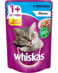 Whiskas корм пауч для взрослых кошек, желе с лососем, 85гр (72156)